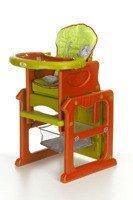 Krzesełko do karmienia 3w1 Zielono-pomarańczowe