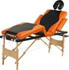 Łóżko do masażu 4 segmentowe dwukolorowe czarno - pomarańczowe