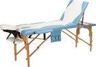 Stół, łóżko do masażu 3 segmentowe drewniane  biało - błękitne