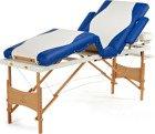 Stół, łóżko do masażu 4 segmentowe drewniane biało - niebieskie