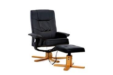 Fotel wypoczynkowy z masażem + puff z masażem czarny